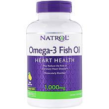 """Рыбий жир Natrol """"Omega-3 Fish Oil"""" для поддержки сердца, лимонный вкус, 1000 мг (150 гелевых капсул)"""