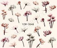 Наклейки для маникюрного дизайна цветы YZW-3048