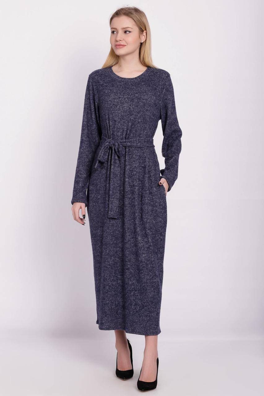bfc22ec343a Длинное трикотажное платье SABINA прямого силуэта с боковыми карманами и  поясом - Интернет-магазин