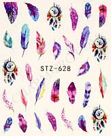 Наклейки для маникюрного дизайна перья STZ-628