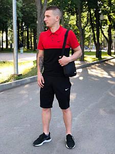 Костюм Футболка Поло черная-красная + Шорты.  Барсетка в подарок! Nike (Найк)