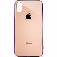 Чехол накладка xCase на iPhone XR Glass Case Logo Metallic rose gold
