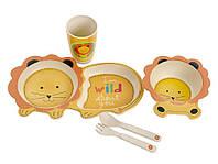 Набор детской бамбуковой посуды Eco Bamboo fibre kids set 5 предметов MH-2775, львенок, фото 1