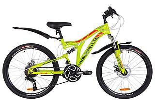 """Двухподвесный горный подростковый велосипед  24"""" Discovery ROCKET DD 2018 (черно-оранжевый с синим (м)), фото 3"""