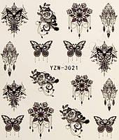 Водные наклейки для маникюра бабочки с цветами YZW-3021
