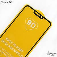 """Защитное стекло Full Glue """"полный клей"""" для Honor 8C (bkk-l21) (black) (клеится всей поверхностью)"""