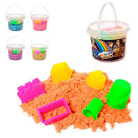 Цветной песок для творчества с набором формочек в пластиковом ведерке Z0191, 300 грамм