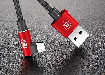 Угловой Lightning кабель Baseus Elbow Type Cable 0.5m - Black/Red
