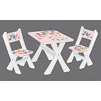 Столик М 2100-17 с 2мя стульчиками, бел, бабочки
