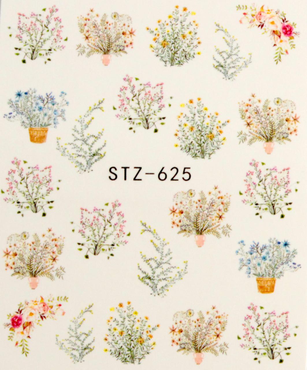 Водные наклейки для маникюра цветы STZ-625