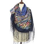 Июньское утро 1028-14, павлопосадский платок (шаль) из уплотненной шерсти с шелковой вязанной бахромой, фото 2