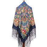 Июньское утро 1028-14, павлопосадский платок (шаль) из уплотненной шерсти с шелковой вязанной бахромой, фото 3
