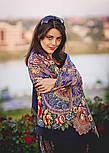 Июньское утро 1028-14, павлопосадский платок (шаль) из уплотненной шерсти с шелковой вязанной бахромой, фото 7