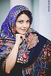 Июньское утро 1028-14, павлопосадский платок (шаль) из уплотненной шерсти с шелковой вязанной бахромой, фото 9