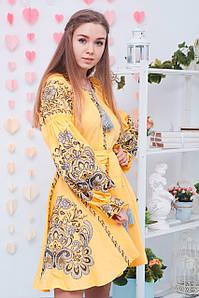 Сучасна вишита коротка сукня з льону в оранжевому кольорі «Людмила»