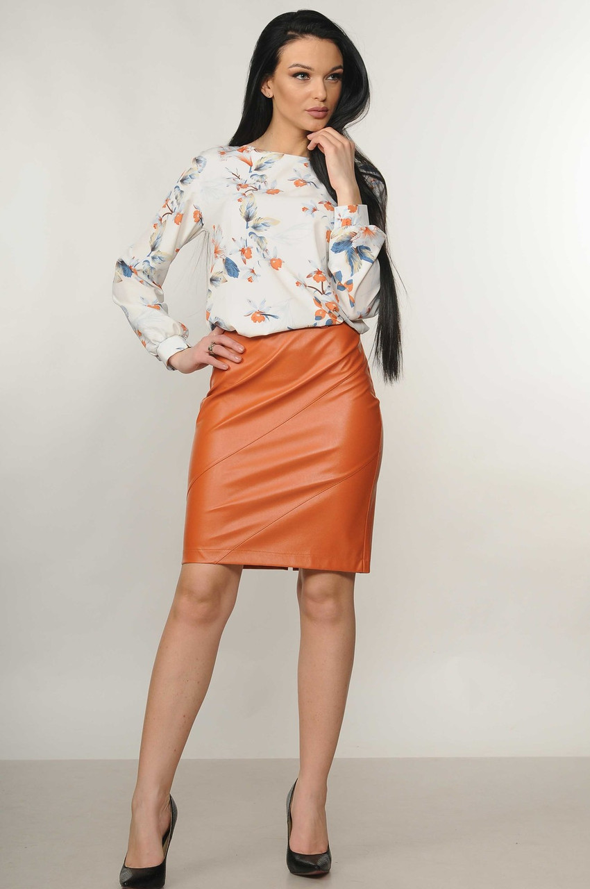 Яркая облегающая юбка эко–кожа Dakota (42–52р) в расцветках