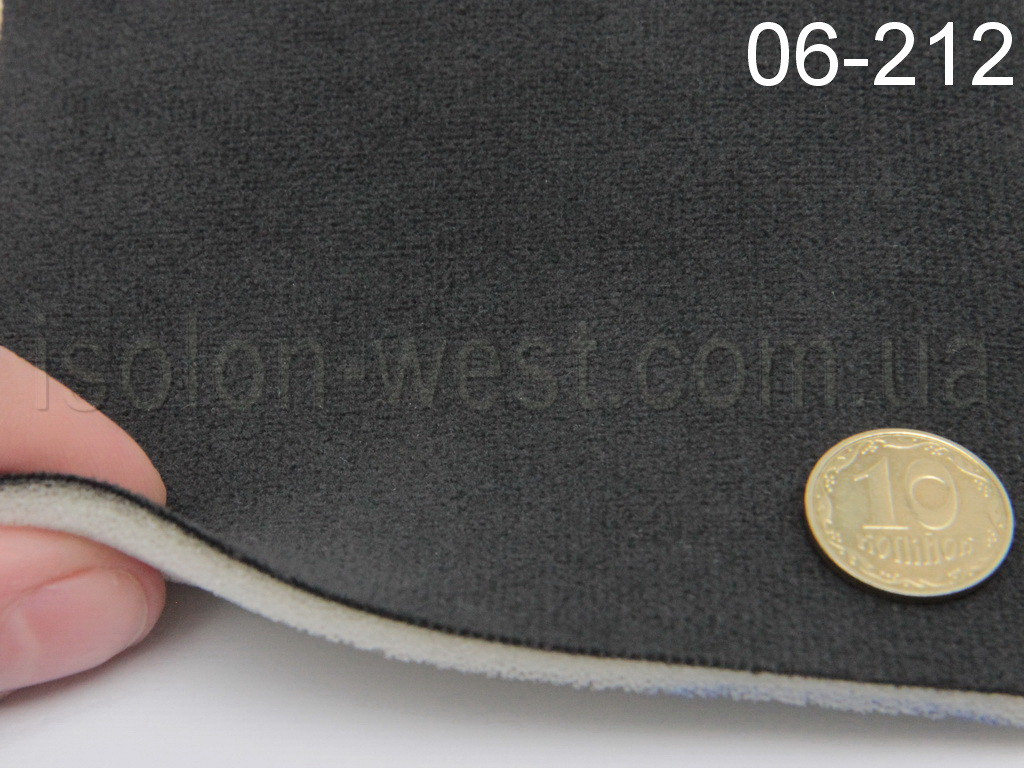 Ткань потолочная 06-212 темно-серая, автовелюр на поролоне  шир. 1.45м