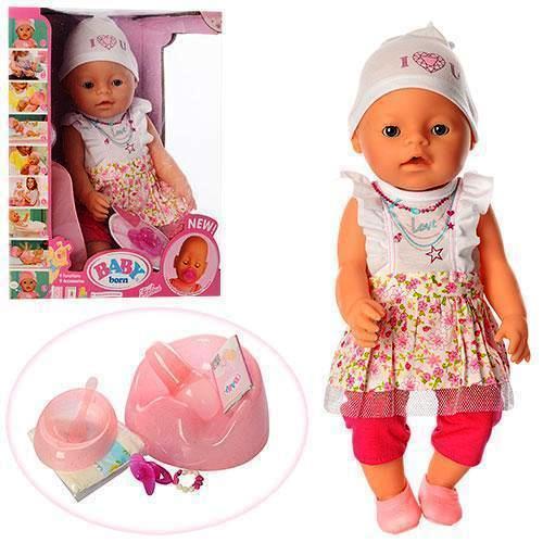 Пупс интерактивный аналог Baby Born 8006 459 магнитная соска