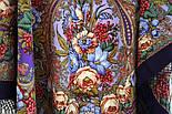 Счастливица 1122-15, павлопосадский платок (шаль) из уплотненной шерсти с шелковой вязанной бахромой, фото 5