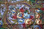 Счастливица 1122-15, павлопосадский платок (шаль) из уплотненной шерсти с шелковой вязанной бахромой, фото 6