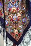 Счастливица 1122-15, павлопосадский платок (шаль) из уплотненной шерсти с шелковой вязанной бахромой, фото 2