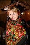 Счастливица 1122-18, павлопосадский платок (шаль) из уплотненной шерсти с шелковой вязанной бахромой, фото 5
