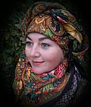 Счастливица 1122-18, павлопосадский платок (шаль) из уплотненной шерсти с шелковой вязанной бахромой, фото 6