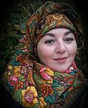 Счастливица 1122-18, павлопосадский платок (шаль) из уплотненной шерсти с шелковой вязанной бахромой, фото 8