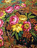 Счастливица 1122-18, павлопосадский платок (шаль) из уплотненной шерсти с шелковой вязанной бахромой, фото 9