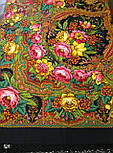 Счастливица 1122-18, павлопосадский платок (шаль) из уплотненной шерсти с шелковой вязанной бахромой, фото 10