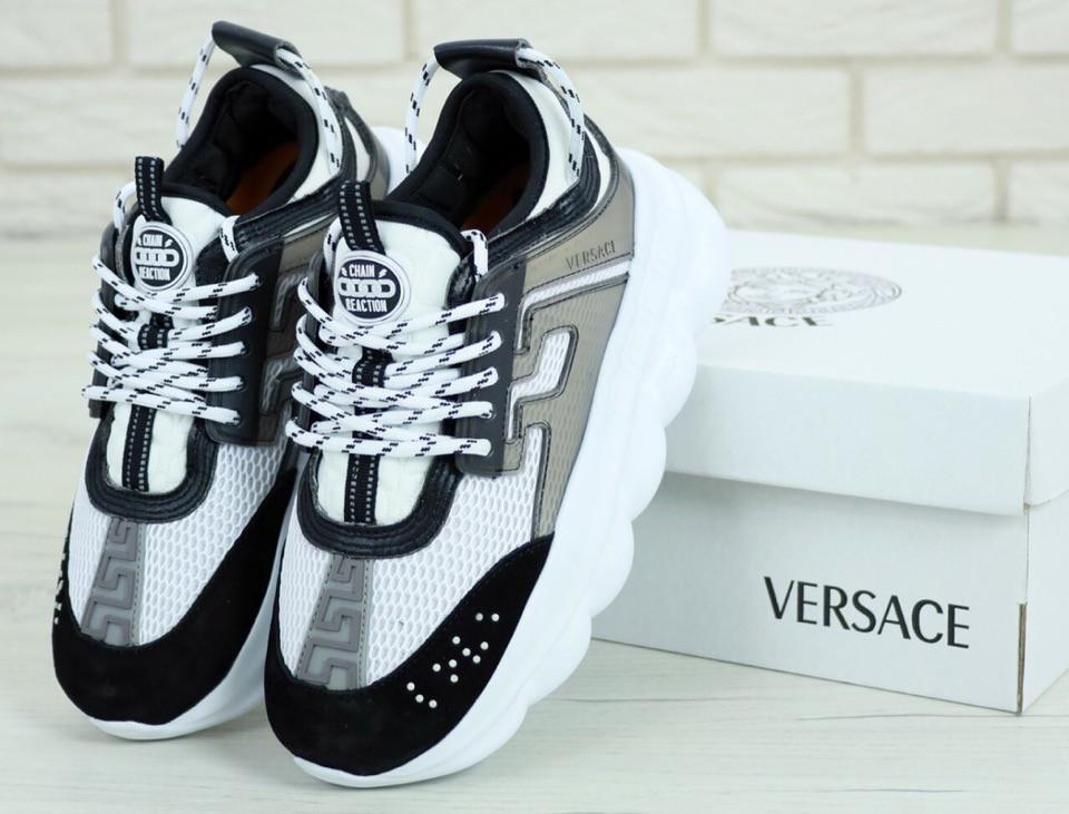 Женские кроссовки Versace Chain Reaction Sneakers (бело-черные)