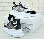 Женские кроссовки Versace Chain Reaction Sneakers (бело-черные) , фото 2