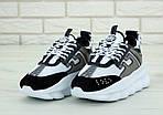 Женские кроссовки Versace Chain Reaction Sneakers (бело-черные) , фото 5