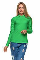 Женская футболка Поло 2861 длин.рукав - салатовый: S M L XL 2XL