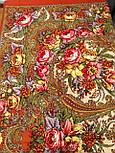 Щасливиця 1122-3, павлопосадский хустку (шаль) з ущільненої вовни з шовковою бахромою в'язаної, фото 3