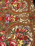 Щасливиця 1122-3, павлопосадский хустку (шаль) з ущільненої вовни з шовковою бахромою в'язаної, фото 7