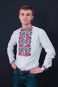 Приталена чоловіча вишиванка у білому кольорі із вишивкою квітами «Нестор»
