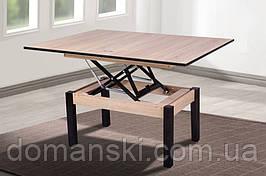 Стол трансформер, складной обеденный и журнальный столик в одном. Стол для гостей. Дуб санома + венге - цвет.
