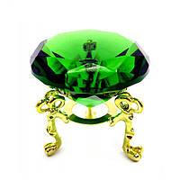 Кристалл на подставке, зелёный цвет, диаметр 4 см