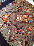Миндаль 1369-27, павлопосадский платок (шаль) из уплотненной шерсти с шелковой вязанной бахромой, фото 7
