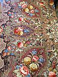 Миндаль 1369-27, павлопосадский платок (шаль) из уплотненной шерсти с шелковой вязанной бахромой, фото 8