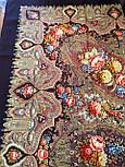 Миндаль 1369-27, павлопосадский платок (шаль) из уплотненной шерсти с шелковой вязанной бахромой, фото 9