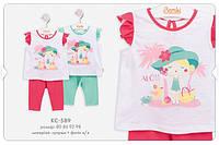 Летний костюм с лосинами для девочки. КС589