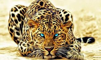 """Алмазная вышивка 50х30см - набор """"Огненный леопард 2"""""""