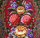 Миндаль 1369-19, павлопосадский платок (шаль) из уплотненной шерсти с шелковой вязанной бахромой, фото 4