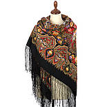 Миндаль 1369-19, павлопосадский платок (шаль) из уплотненной шерсти с шелковой вязанной бахромой, фото 2