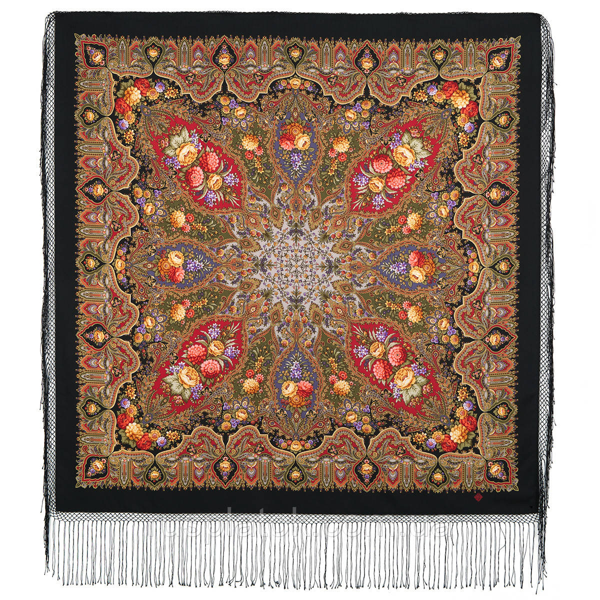 Миндаль 1369-19, павлопосадский платок (шаль) из уплотненной шерсти с шелковой вязанной бахромой