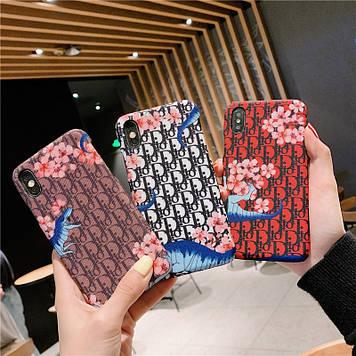 """Iphone 6 / 6s / 6plus оригинальный кожаный чехол панель накладка лого цветы НАТУРАЛЬНАЯ КОЖА """" Dior """""""