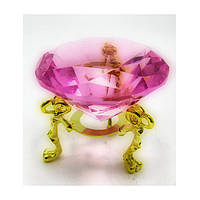 Кристалл Феншуй розовый на подставке диаметр 4 см