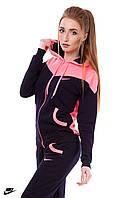 Весенний трикотажный спортивный костюм женский (черный розовый)
